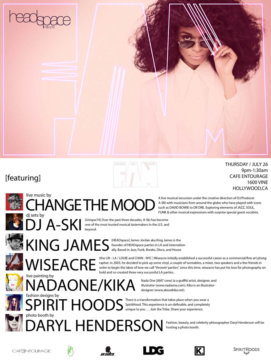 Unique74 Events | HEADspace @ CAFE ENTOURAGE -HOLLYWOOD | CHANGE THE MOOD ENSEMBLE + WISEACRE (THE LIFT/NYC) | THU / 7.26